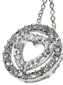 Avon AUSTRIAN CRYSTAL HEART CIRCLE PAVE NECKLACE PENDANT NIB W/POUCH-HEART