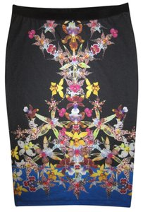 Clover Canyon Floral Print Neo Pencil Dress Designer Runway Celeb Couture Skirt Multi-color