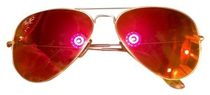 Ray-Ban Ray-Ban Aviator Pink-Red Flash Polarized Lens Sunglasses Case Included