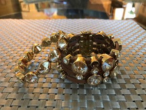 Henri Bendel Leather strap bracelet with additional (matching) crystal bracelet