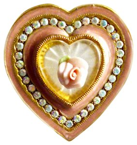 Other ENAMEL HEART BROOCH W/FAUX CAMPHOR GLASS-CERAMIC ROSE-AB CRYSTALS