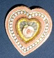 Other ENAMEL HEART BROOCH W/FAUX CAMPHOR GLASS-CERAMIC ROSE-AB CRYSTALS Image 3