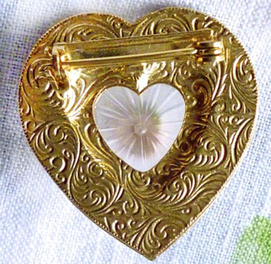 Other ENAMEL HEART BROOCH W/FAUX CAMPHOR GLASS-CERAMIC ROSE-AB CRYSTALS Image 6