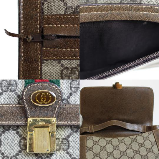 9cc80159a1f9 Gucci Vintage /designer Brown Large G Logo Print Coated Canvas & Leather  With Red/