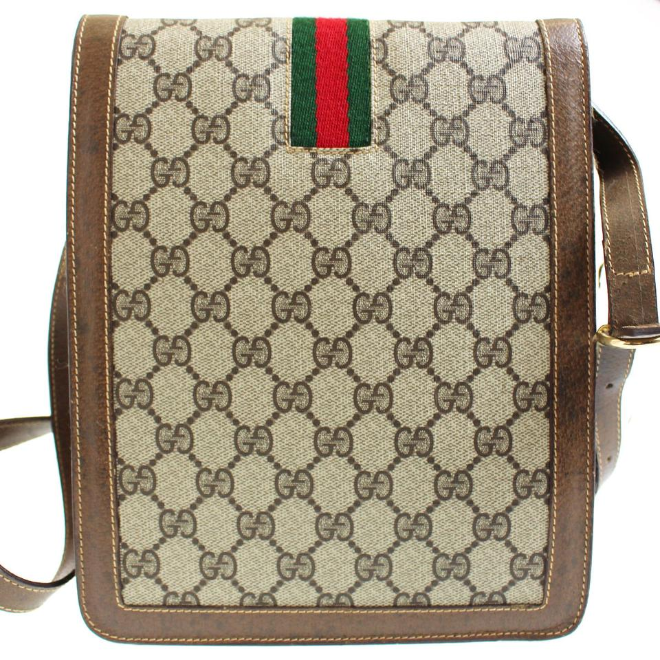 7e6840524f4f Gucci Vintage /designer Brown Large G Logo Print Coated Canvas & Leather  With Red/