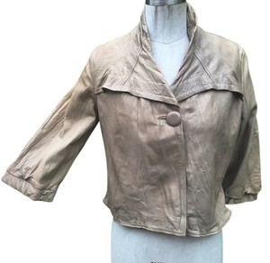 Mike & Chris Large tan gray Leather Jacket