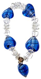 Murano BLUE MURANO HEART AND CRYSTAL BEAD STRETCH BRACELET-SILVER BEAD