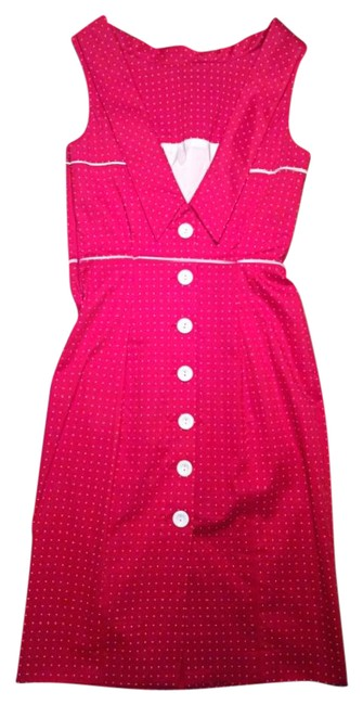 Item - Red With White Polka Dot Retro Button Up Pencil Mid-length Night Out Dress Size 4 (S)