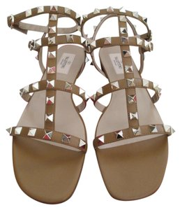 Valentino Leather Rockstud Brown Sandals