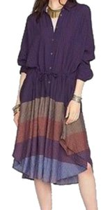 Multi Maxi Dress by Free People Dolman Sleeves Spread Collar Front Button Closure Muted Stripes A Line Skirt