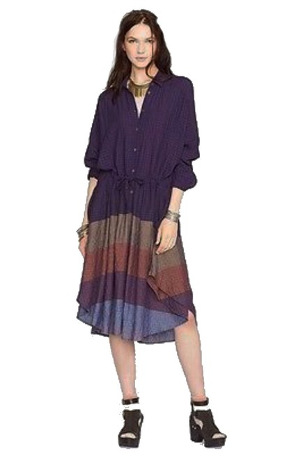 Multi Maxi Dress by Free People Dolman Sleeves Spread Collar Front Button Closure Muted Stripes A Line Skirt Image 1