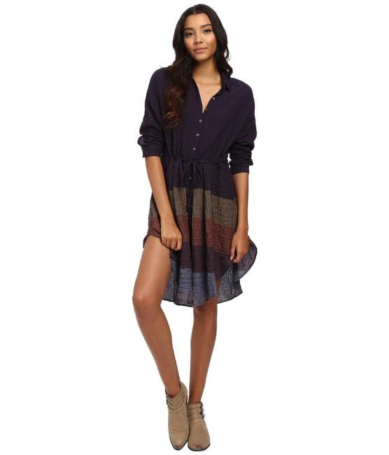 Multi Maxi Dress by Free People Dolman Sleeves Spread Collar Front Button Closure Muted Stripes A Line Skirt Image 2