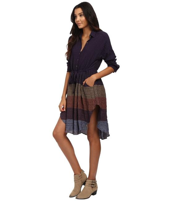 Multi Maxi Dress by Free People Dolman Sleeves Spread Collar Front Button Closure Muted Stripes A Line Skirt Image 3