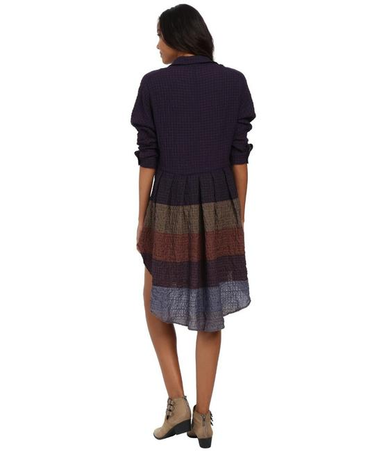 Multi Maxi Dress by Free People Dolman Sleeves Spread Collar Front Button Closure Muted Stripes A Line Skirt Image 4