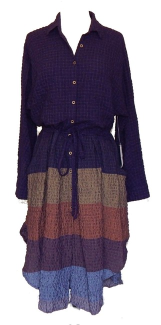 Multi Maxi Dress by Free People Dolman Sleeves Spread Collar Front Button Closure Muted Stripes A Line Skirt Image 5