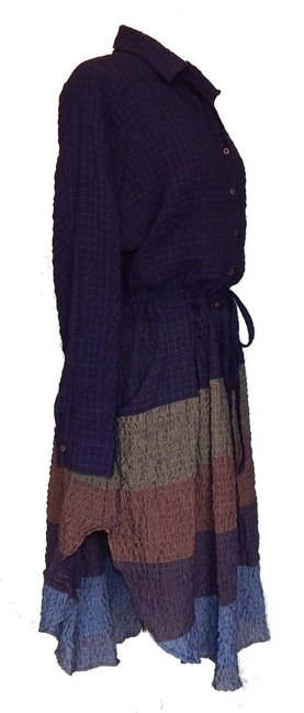 Multi Maxi Dress by Free People Dolman Sleeves Spread Collar Front Button Closure Muted Stripes A Line Skirt Image 6