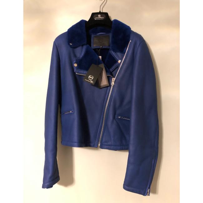 MCQ by Alexander McQueen blue Leather Jacket Image 3