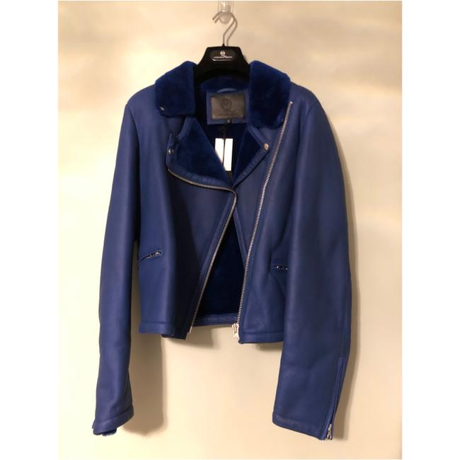 MCQ by Alexander McQueen blue Leather Jacket Image 4