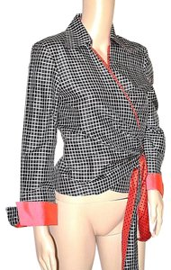 Marisa Baratelli Thai Silk Wrap Check Lined Top Black/White/Red