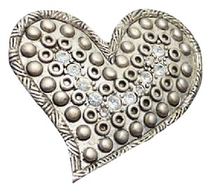 Chico's VTG 2007 SILVERTONE CRYSTAL TEXTURED HEART SHAPED BROOCH