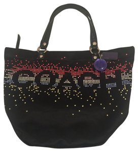 Coach Tote in Black/Multi-Colored Rhinestones