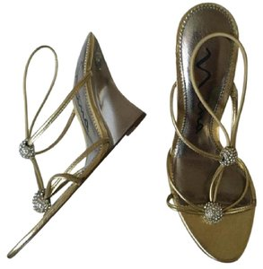 Nina Gold Glass Heels with Embellishments Formal Size US 5.5