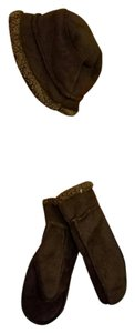 L.L.Bean LL BEAN BROWN MICROFIBER SUEDE HAT AND GLOVES