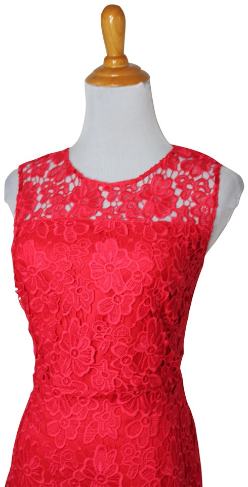 Elie Tahari Coral Sunset New Tags Lace Floral Sleeveless Short Cocktail Dress Size 6 S 65 Off Retail