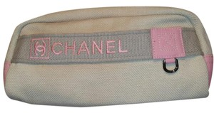 Chanel CHANEL Cosmetic makeup bag travel case Clutch white pink Canvas