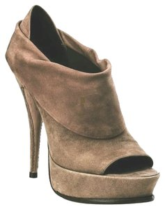 Elizabeth and James Suede Peep Toe Platform Taupe Boots