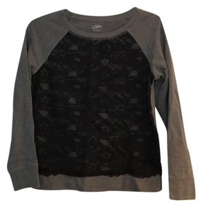 Ann Taylor LOFT Top black and gray