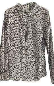 J.Crew Jcre Animal Print Button Down Shirt black and white