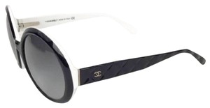 Chanel CHANEL Black & White Oversized Rounded Sunglasses w/ Quilted Arms!