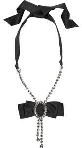 Lanvin Pendant Necklace with Swarovski Crystals and Silk Ribbon.