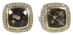 David Yurman David Yurman Sterling Silver 18K 11mm Smoky Quartz Diamond Earrings