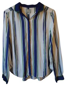 Anthropologie Striped Maeve Blue Green Button Down Shirt