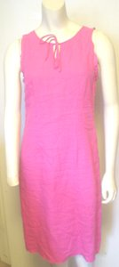 Willi Smith Fuscia Sleeveless Linen Shift Dress