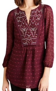 Anthropologie Purple Peasant Print Top