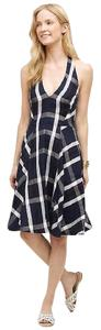 Anthropologie short dress Navy Blue Print Plaid Linen Summer on Tradesy