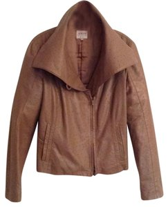 Giorgio Armani taupe ostrich Leather Jacket