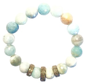 Light Blue Agate & Champagne Diamond Station Bracelet