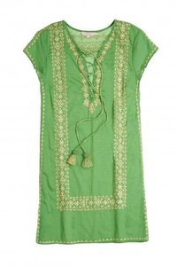 Calypso St. Barth short dress Green Gold Boho Embroidered on Tradesy