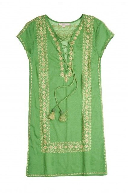 Item - Green Gold Boho Embroidered Lace Up Cotton Shift Short Casual Dress Size 4 (S)