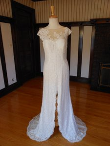 Pronovias Off White Lace Preta Destination Wedding Dress Size 14 (L)