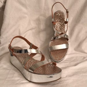 Pedro Garcia Leather Platform New/nwt Wedge Silver Sandals