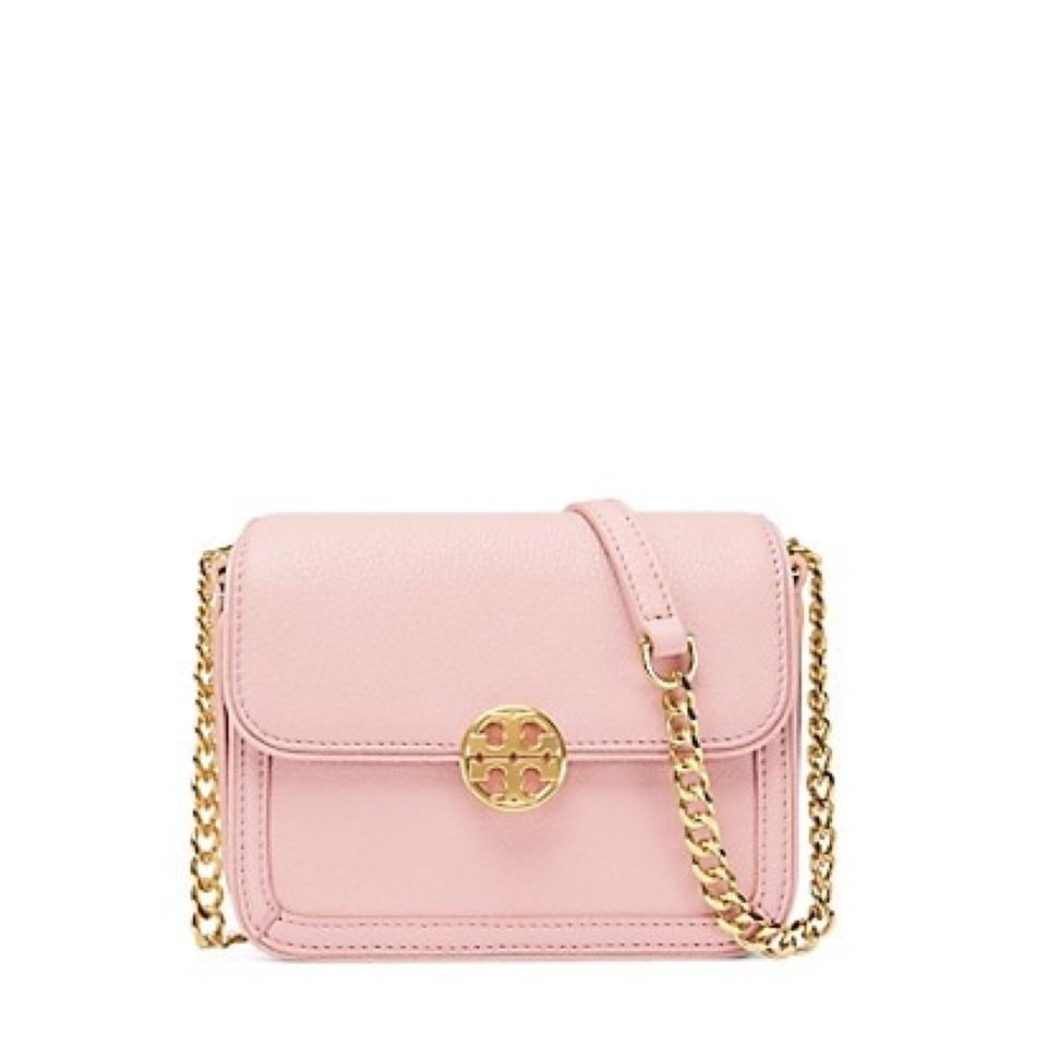1cd543390e Tory Burch Duet Chain Micro Shoulder Pink and Gold Leather Cross Body Bag