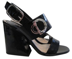 Dior Patent Leather Logo Black Sandals