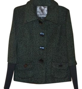 Kensie Nwt Size M Lined Green/black wool blend Jacket