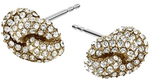 Michael Kors Michael Kors MKJ4195 Knot Motif Stud Earrings Gold Tone Crystal Pave