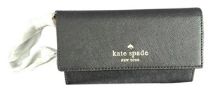 Kate Spade Leather Gold Hardware Embossed Wristlet in Black